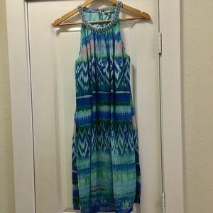 Neiman Marcus watercolor chiffon dress sz S